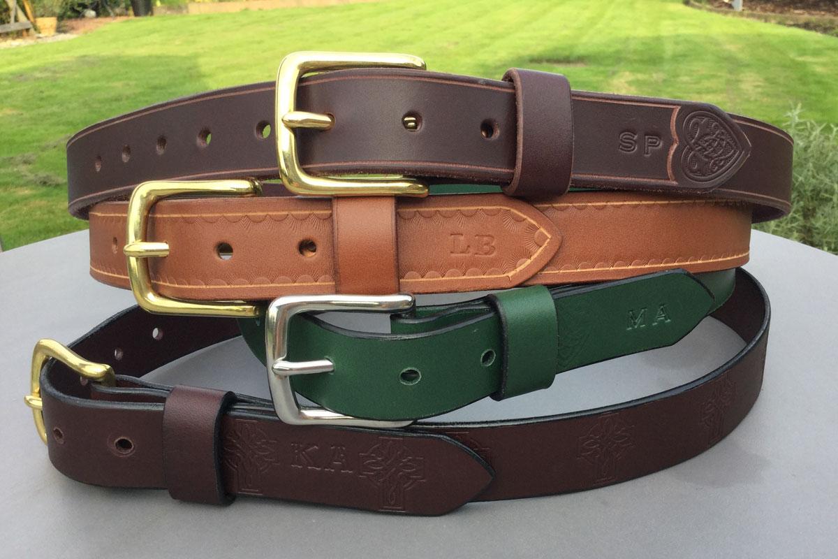Leather belts made at Blacksmith Shop Crafts