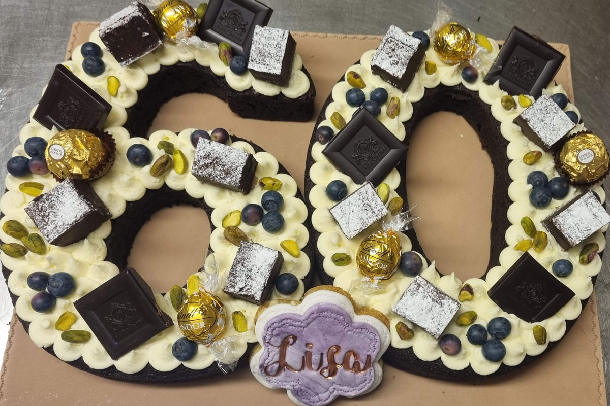60th chocolate birthday cake from at Blacksmith Shop Crafts