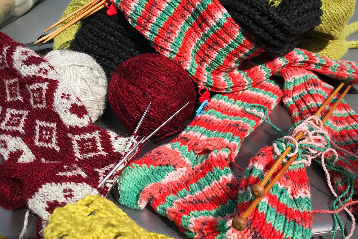 Knitting supplied at at Blacksmith Shop Crafts