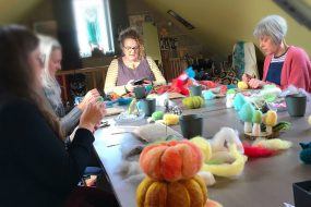 Needle felting group at Blacksmith Shop Crafts
