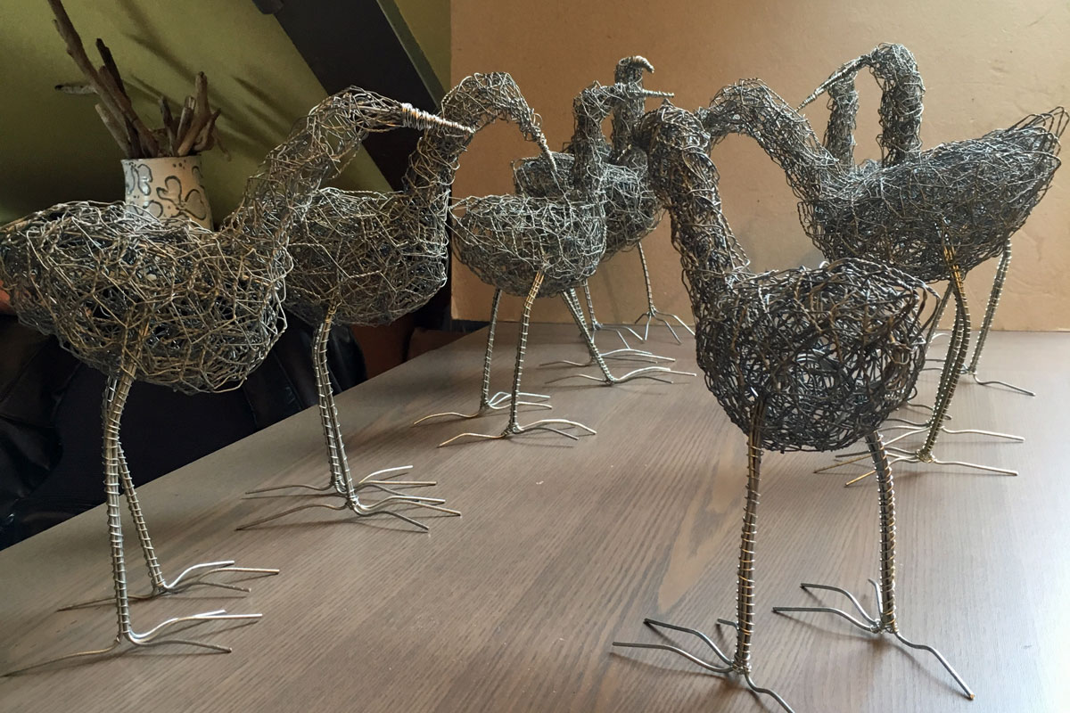 Wire birds created at a craft workshop at Blacksmith Shop Crafts